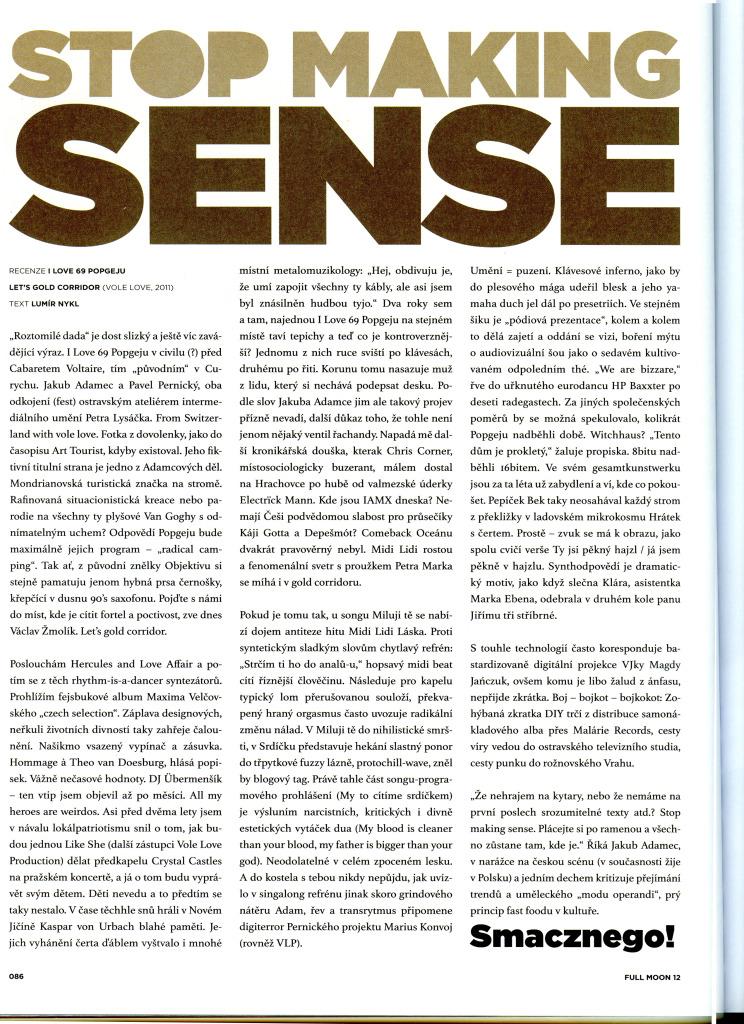 I Love 69 Popgejů, Stop Making Sense, Recenze na album Let's Gold Corridor, Full Moon Magazine, 12/2011 (autor: Lumír Nykl)