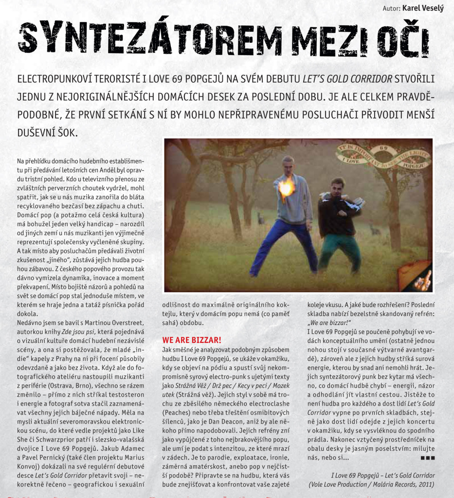 I Love 69 Popgejů, recence alba Let's Gold Corridor, Nový Prostor, 2011 (autor: Karel Veselý)